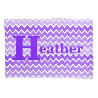 Personalized Monogram Purple Lavender Chevron Girl Pillow Case