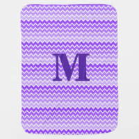 Personalized Monogram Purple Ombre Chevron Stroller Blanket