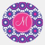 Personalized Monogram Purple Pink Stars Circles Round Sticker