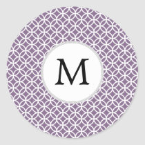 Personalized Monogram purple rings pattern Classic Round Sticker