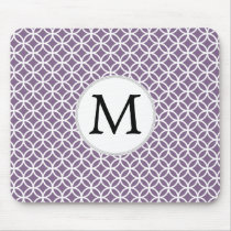 Personalized Monogram purple rings pattern Mouse Pad
