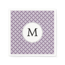 Personalized Monogram purple rings pattern Paper Napkin