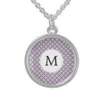 Personalized Monogram purple rings pattern Sterling Silver Necklace