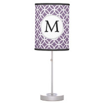 Personalized Monogram purple rings pattern Table Lamp