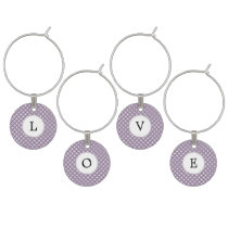 Personalized Monogram purple rings pattern Wine Glass Charm