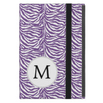 Personalized Monogram Purple Zebra Stripes Cover For iPad Mini