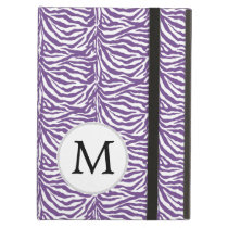 Personalized Monogram Purple Zebra Stripes iPad Air Cases