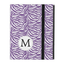 Personalized Monogram Purple Zebra Stripes iPad Case