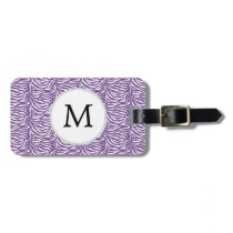Personalized Monogram Purple Zebra Stripes pattern Luggage Tag