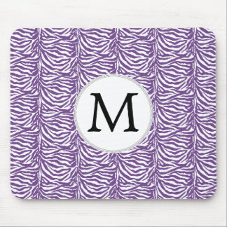 Personalized Monogram Purple Zebra Stripes pattern Mouse Pad