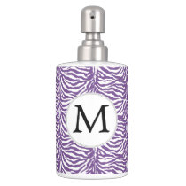 Personalized Monogram Purple Zebra Stripes pattern Soap Dispenser And Toothbrush Holder