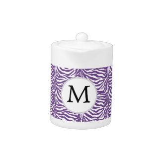 Personalized Monogram Purple Zebra Stripes pattern Teapot