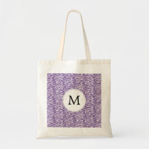 Personalized Monogram Purple Zebra Stripes pattern Tote Bag
