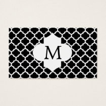 Personalized Monogram Quatrefoil Black and Pink Business Card