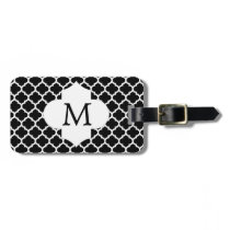Personalized Monogram Quatrefoil Black and Pink Luggage Tag