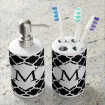 Personalized Monogram Quatrefoil Black and White Bath Set