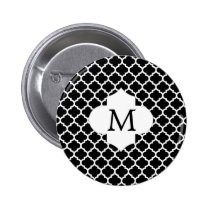 Personalized Monogram Quatrefoil Black and White Button