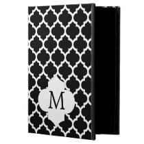 Personalized Monogram Quatrefoil Black and White iPad Air Cases