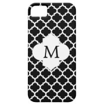 Personalized Monogram Quatrefoil Black and White iPhone SE/5/5s Case