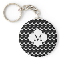 Personalized Monogram Quatrefoil Black and White Keychain