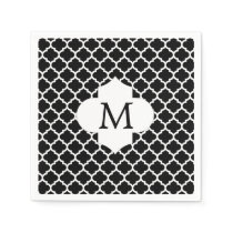 Personalized Monogram Quatrefoil Black and White Napkin