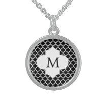 Personalized Monogram Quatrefoil Black and White Sterling Silver Necklace