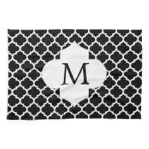 Personalized Monogram Quatrefoil Black and White Towel