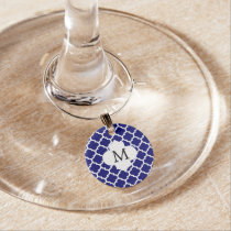 Personalized Monogram Quatrefoil Blue and White Wine Charm
