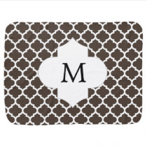 Personalized Monogram Quatrefoil Brown and White Baby Blanket