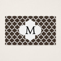 Personalized Monogram Quatrefoil Brown and White Business Card