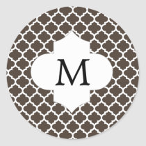 Personalized Monogram Quatrefoil Brown and White Classic Round Sticker