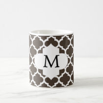 Personalized Monogram Quatrefoil Brown and White Coffee Mug