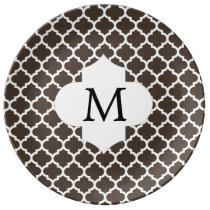 Personalized Monogram Quatrefoil Brown and White Dinner Plate
