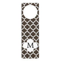 Personalized Monogram Quatrefoil Brown and White Door Hanger