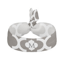 Personalized Monogram Quatrefoil Brown and White Hair Tie