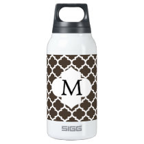 Personalized Monogram Quatrefoil Brown and White Insulated Water Bottle