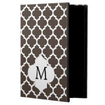 Personalized Monogram Quatrefoil Brown and White iPad Air Cover