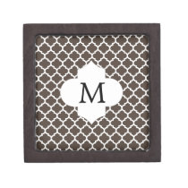 Personalized Monogram Quatrefoil Brown and White Keepsake Box