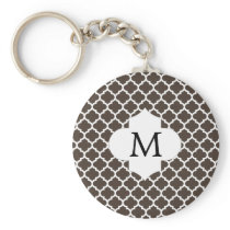 Personalized Monogram Quatrefoil Brown and White Keychain