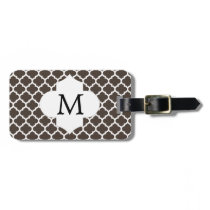 Personalized Monogram Quatrefoil Brown and White Luggage Tag