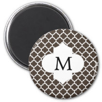 Personalized Monogram Quatrefoil Brown and White Magnet