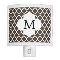 Personalized Monogram Quatrefoil Brown and White Night Light