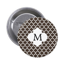 Personalized Monogram Quatrefoil Brown and White Pinback Button