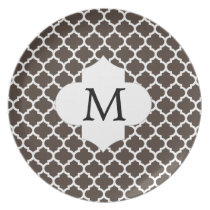 Personalized Monogram Quatrefoil Brown and White Plate