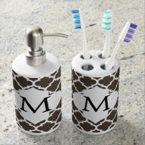 Personalized Monogram Quatrefoil Brown and White Soap Dispenser And Toothbrush Holder