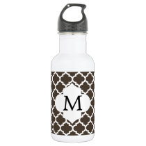 Personalized Monogram Quatrefoil Brown and White Stainless Steel Water Bottle