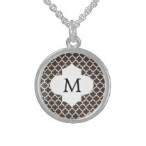 Personalized Monogram Quatrefoil Brown and White Sterling Silver Necklace
