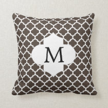 Personalized Monogram Quatrefoil Brown and White Throw Pillow