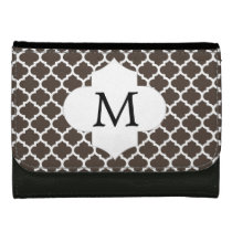 Personalized Monogram Quatrefoil Brown and White Wallets For Women