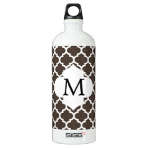 Personalized Monogram Quatrefoil Brown and White Water Bottle